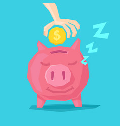 a happy piggy bank and hand vector image