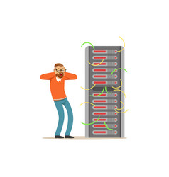 Anxiety technical specialist repairing server vector