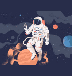 astronaut exploring outer space cosmonaut in vector image