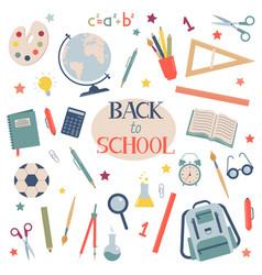 back to school school supplies set vector image