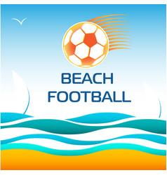 beach soccer football vector image