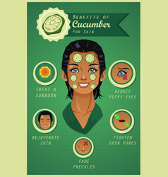 Benefit of cucumber for skin vector