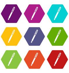 Black fountain pen icon set color hexahedron vector