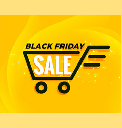 black friday shopping cart sale background vector image