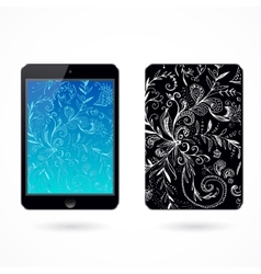 black tablet pc on white vector image