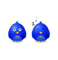 blue awake and sleeping bird vector image