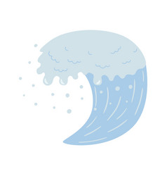 blue wave and water spray wavy symbols nature vector image