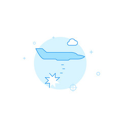 Bomber airplain flat icon filled line style blue vector