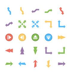 Bundle arrows colored icons vector