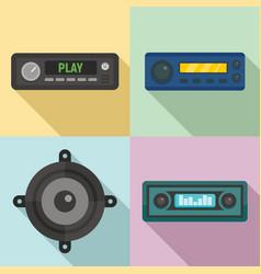 car audio icons set flat style vector image