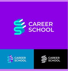 career school logo cs volume monogram vector image