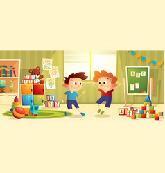 Cartoon preschool kindergarten with boys vector
