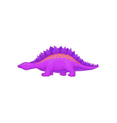 Cartoon purple stegosaurus dinosaur of jurassic vector