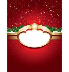 christmas background with blank label vector image