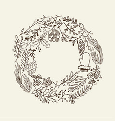 Christmas round frame decorative elements doodle vector