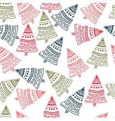 christmas tree hand drawn pattern background vector image