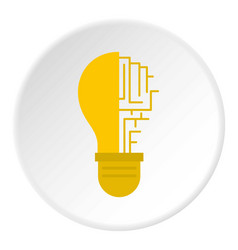 Circuit board inside light bulb icon circle vector