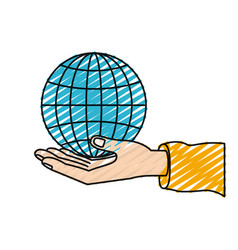 Color crayon silhouette hand palm giving a globe vector
