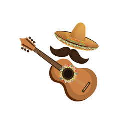 Colorful acoustic guitar musical with hat and vector