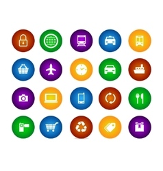 Colorful icon set travel shopping equipment circle vector