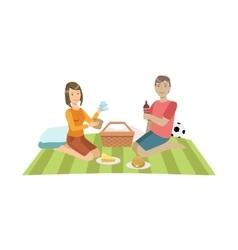 Couple On Picnic With Football Ball vector