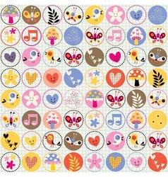 cute flowers birds hearts pattern vector image