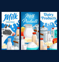 Dairy food and milk farm products banners vector