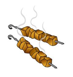 delicious fried meat on skewers vector image