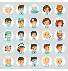 Doctors Cartoon Characters Icons Set2 vector image