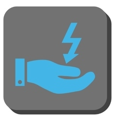 Electric Energy Service Hand Rounded Square Button vector