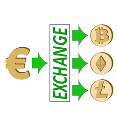 Euro exchange with crypto currency vector
