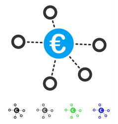 Euro network flat icon vector