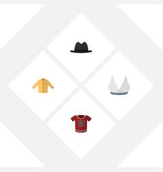 Flat icon garment set of panama t-shirt banyan vector