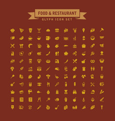 food and drink restaurant glyph icon set vector image