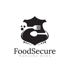 Food logo shield icon concept vector