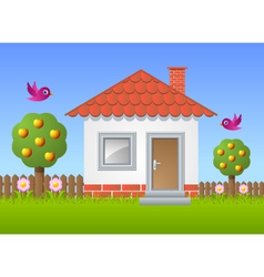 Fruit garden with house vector