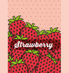 fruit strawberry on the dotted background vector image