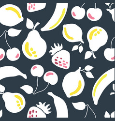 fruits seamless pattern dark background vector image