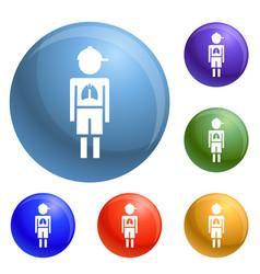 Girl boy pneumonia virus icons set vector