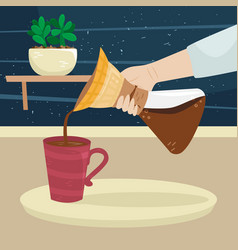 Girl pours coffee from filter coffee maker vector