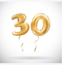 golden number 30 thirty metallic balloon party vector image