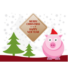 Greeting card with cute pigs for merry christmas vector