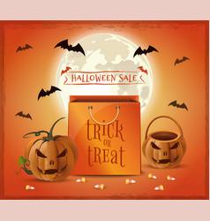 Halloween sale poster design trick or treat vector
