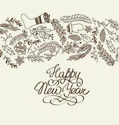 happy new year congratulation decorative doodle vector image