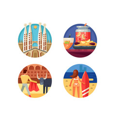 Holidays in spain set icons vector