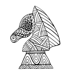 Horse chess piece with many decorative patterns in vector