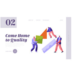 human builder construction color home landing page vector image