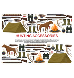 Hunting equipment hunt rifles and ammunition vector