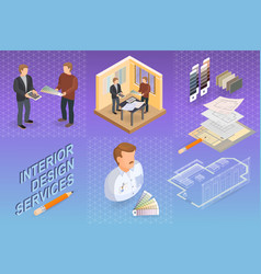 Interior design services isometric project and vector