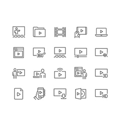 Line Video Icons vector image